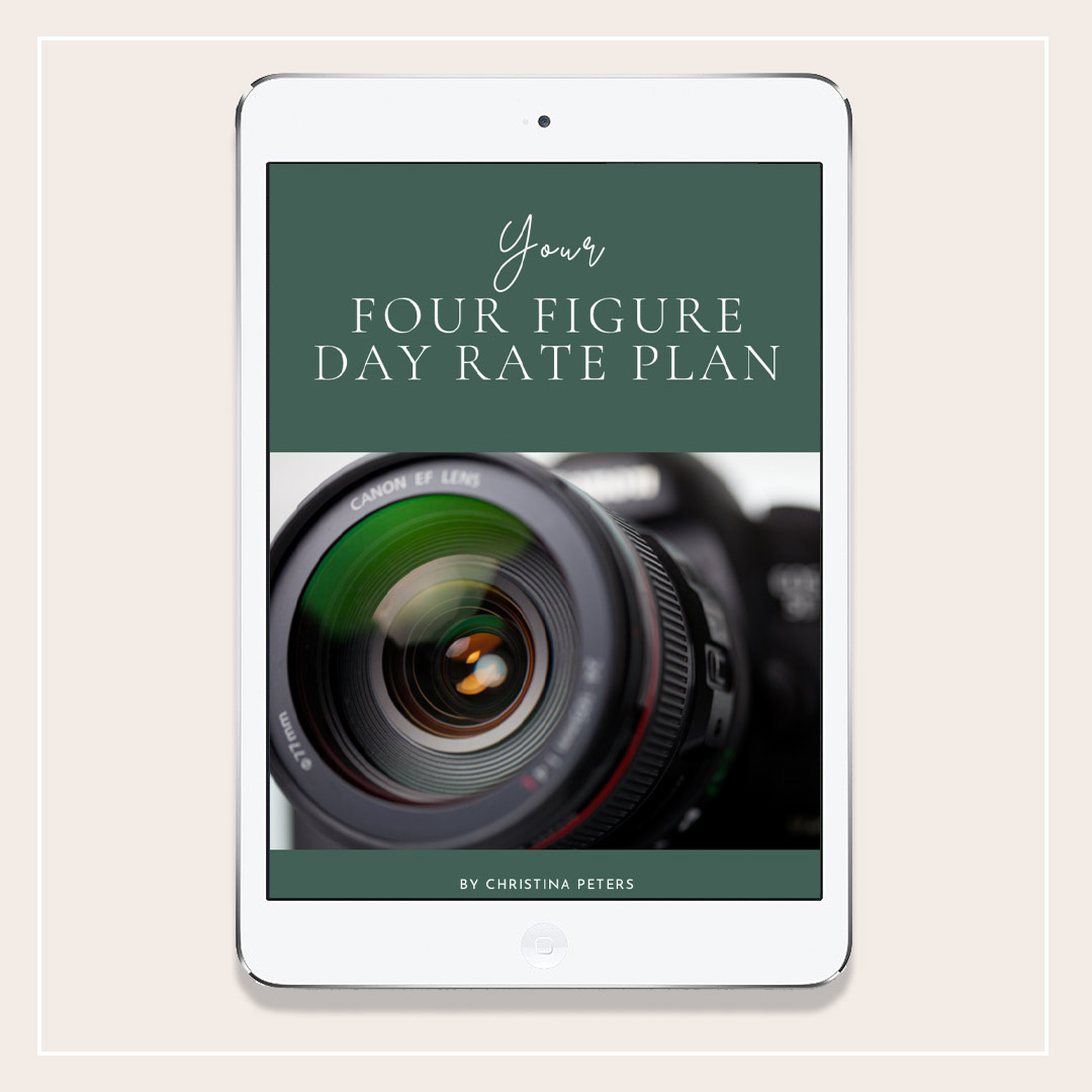 "Image with ebook cover showing title, ""Your Four Figure Day Rate Plan"