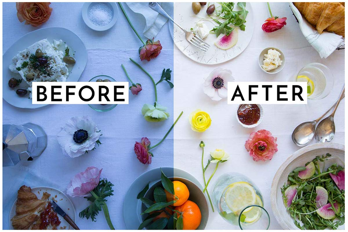 image showing before and after editing a food photo